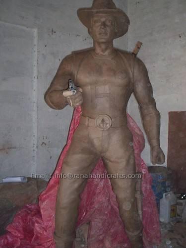 tough man sculpture cowboy in clay