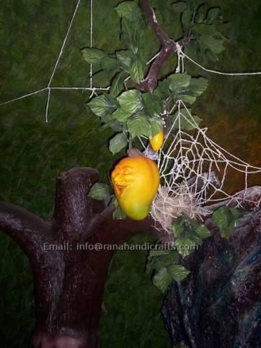 smiling mango sculpture