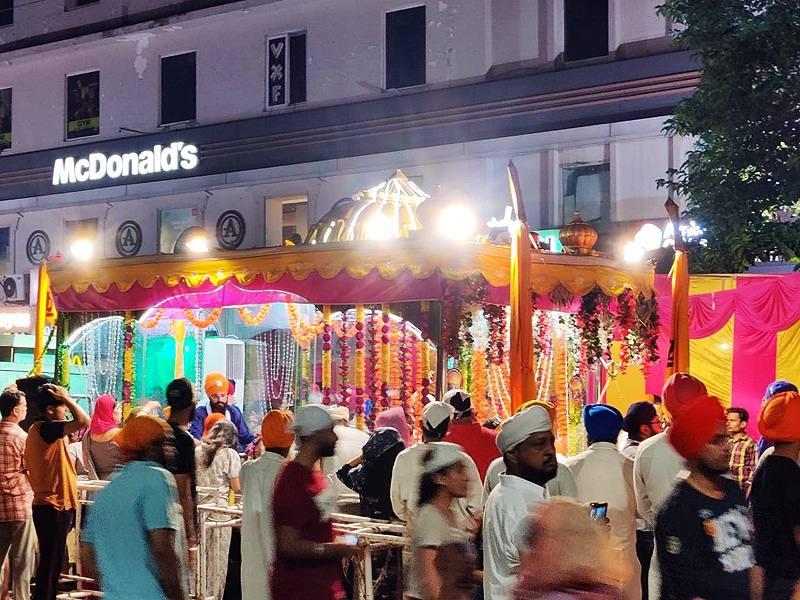 Palki Sahib prepared for Nagar Kirtan