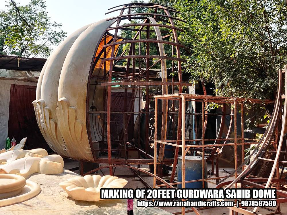 Installing Fiber Petals on a 20ft Gurdwara Sahib Dome Frame Stucture