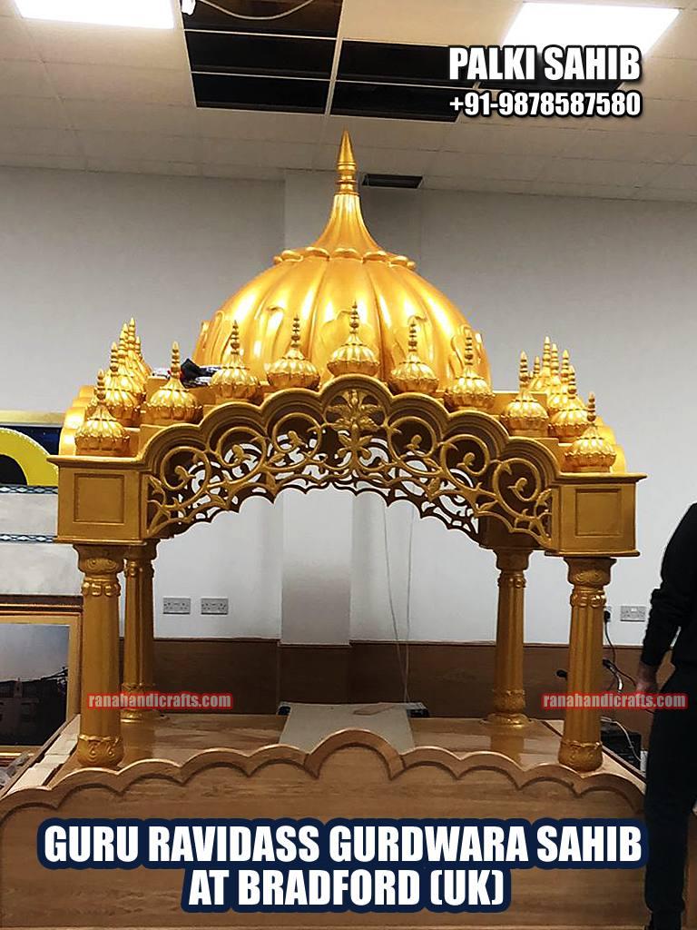 Palki Sahib Installed at Guru Ravidass Gurdwara Sahib in Bradford UK